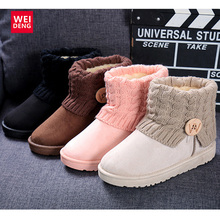Classic Women Ankle Snow Boots Platform Knitting ugs Australia Winter Shoes Casual Cotton Femal Soft Top Casual ugs Waterproof