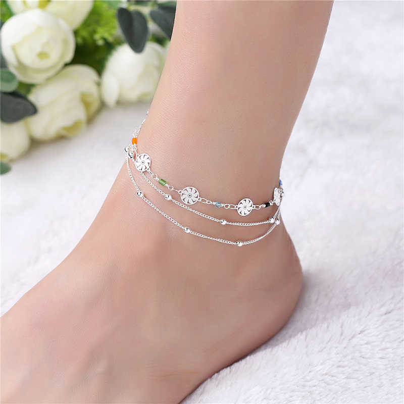 New Fashion Women Beach Anklet 925 Silver Multilayer Crystal Ankle Chains Foot Jewelry Anklets Foot Chain Jewelry Gift 3B091