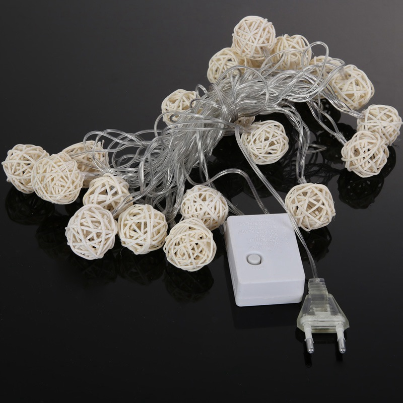 20 Rattan Ball LED String Light Warm White Fairy Holiday Light For Party Decoration Lights Garland SKD88