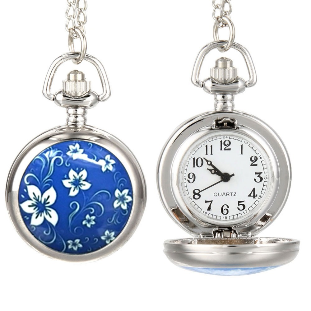 Fashion Vintage Women Pocket Watch Alloy Blue Flowers Pattern Lady Girl Sweater Chain Necklace Pendant Clock Gifts LL@17