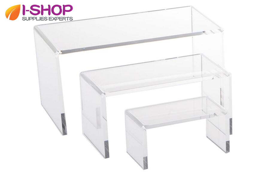 Stackable Retail Riser for Elevating Merchandise Acrylic U Shape Display