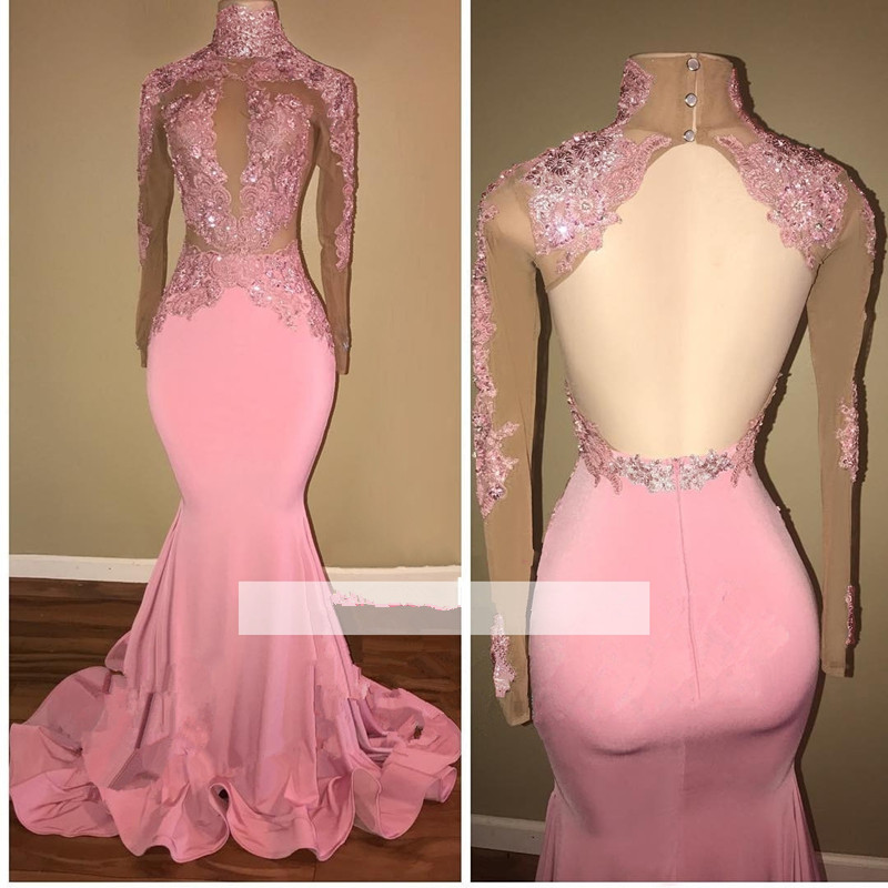 Pink 2019 Prom Dresses Mermaid Long Sleeves Appliques Lace Backless Party Maxys Long Prom Gown Evening Dresses Robe De Soiree