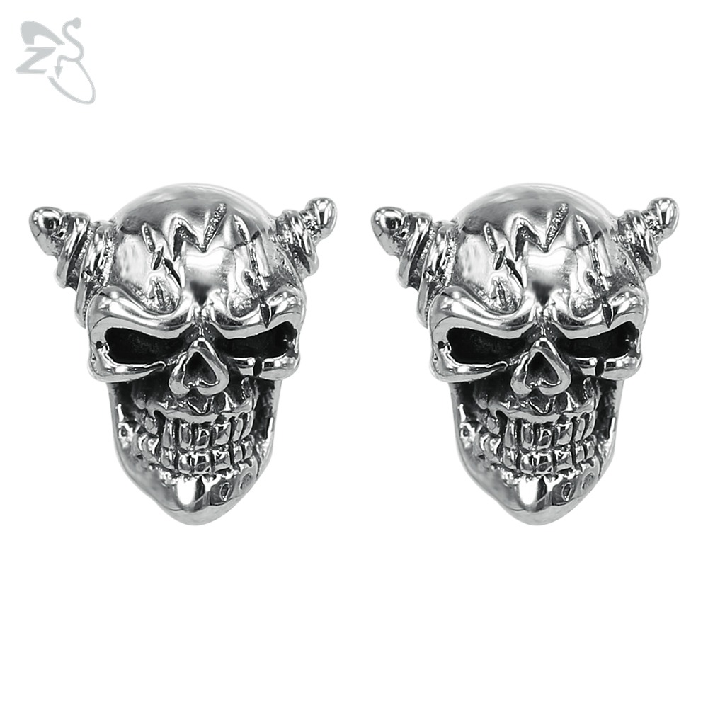 Skeleton Stud Earrings With Horns Surgical Steel Ear Piercing Tragus Rock Style Earing Tattoos Mens Mans Jewellery Orecchini