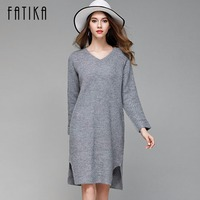 FATIKA Women Knitted Dress Autumn Winter 2017 Casual V Neck Solid Side Slit Elastic Full Sleeve