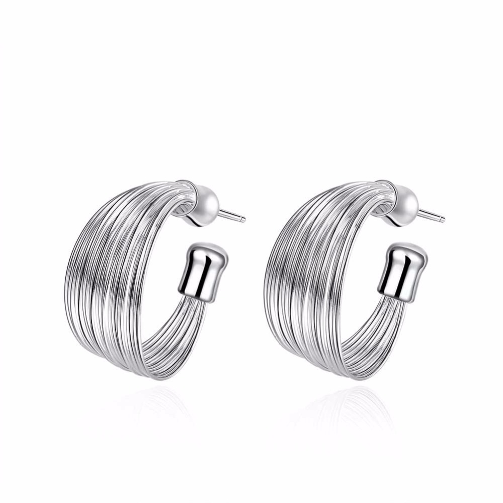 The new selling standard 925 sterling silver jewelry for women creative multilayer opening line semicircle silver earrings