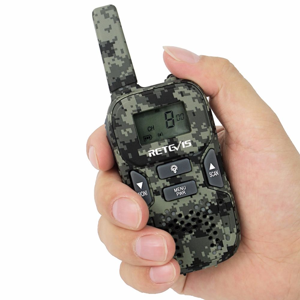 1pc Retevis RT33 Kids Radio Walkie Talkie Camouflage 8CH 0.5W PMR446MHz Frequency Portable Scan VOX CTCSS/DCS J9117
