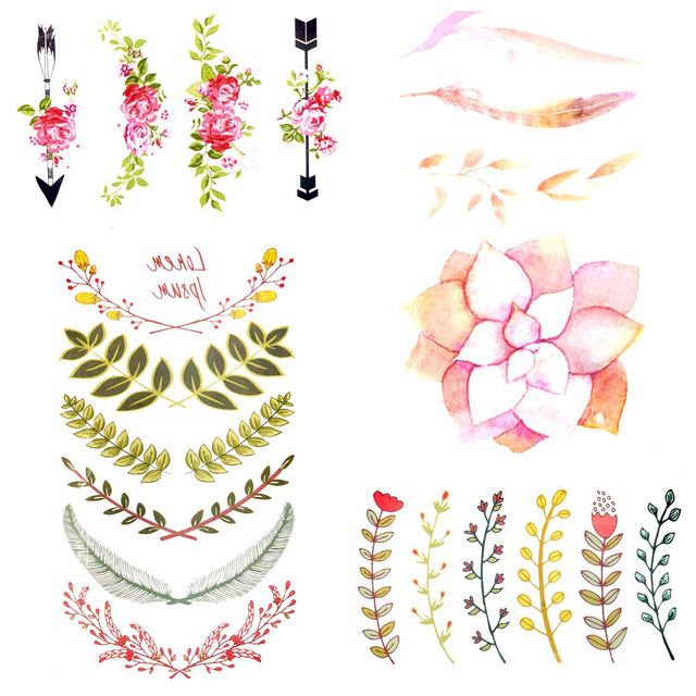 105x6cm Watercolor Lotus Flower Leaf Temporary Tattoo Sticker Small