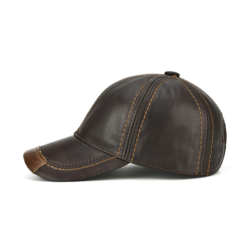 e0436a573 Genuine Cowhide Baseball Caps For Men Autumn Winter Warm Leather Snapback  Hat,New Retro Male Visor Sun Caps Chapeu For Dad Gift-in Baseball Caps from  ...
