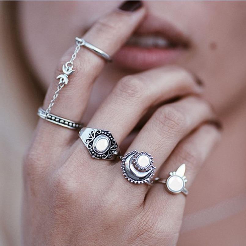 Boho Beach Vintage Knuckle Ring Kits Midi Finger Rings For -9221