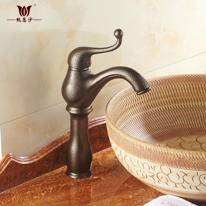European style brass single hole basin faucet above counter basin faucet lift open basin faucet retro simpleEuropean style brass single hole basin faucet above counter basin faucet lift open basin faucet retro simple