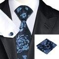 SN-1566 Hi-Tie Pocket Hanky Gemelos Pañuelo Gravatas Corbata Azul Floral de Seda de Alta Calidad para Hombre de Negocios Del Banquete de Boda