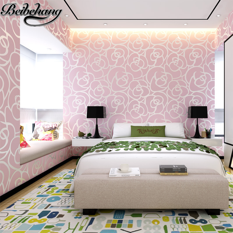 beibehang 3D flower romantic floral Non Woven flocking wallpaper for bedroom living room girls room home decoration tapete beibehang non woven pink love printed wallpaper roll striped design wall paper for kid room girls minimalist home decoration