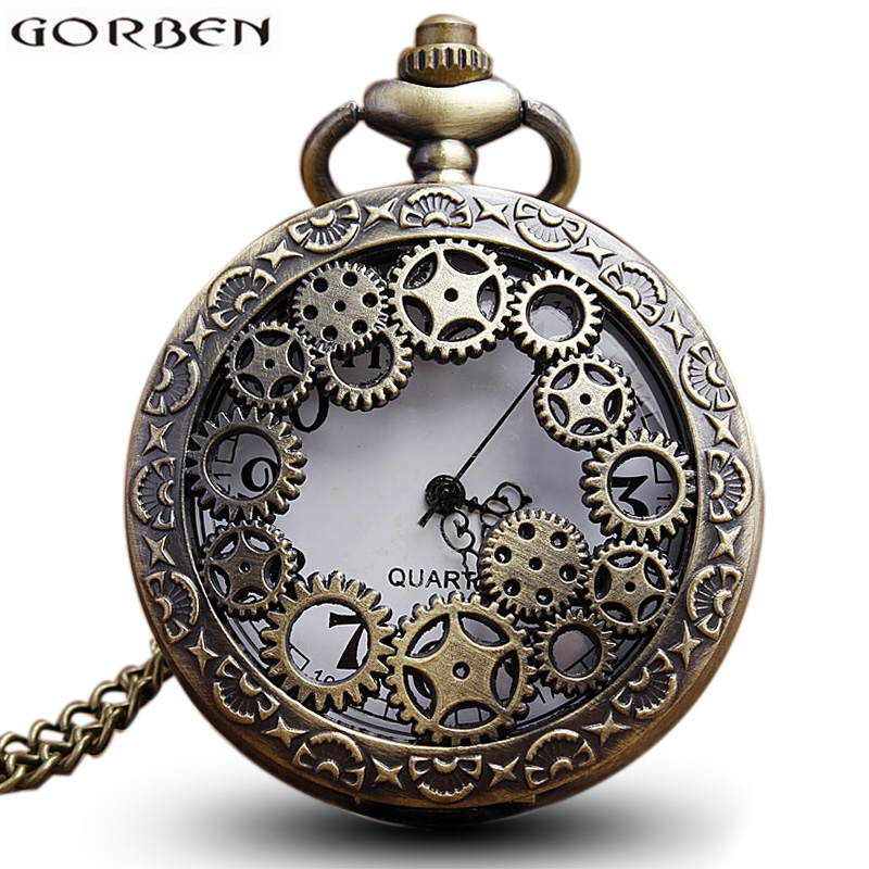 Antique Bronze Gear Steampunk Vintage Hollow Quartz Pocket Watch Necklace Chain Pendants Clock For Men Women Gift vintage antique carving motorcycle steampunk quartz pocket watch retro bronze women men necklace pendant clock with chain toy