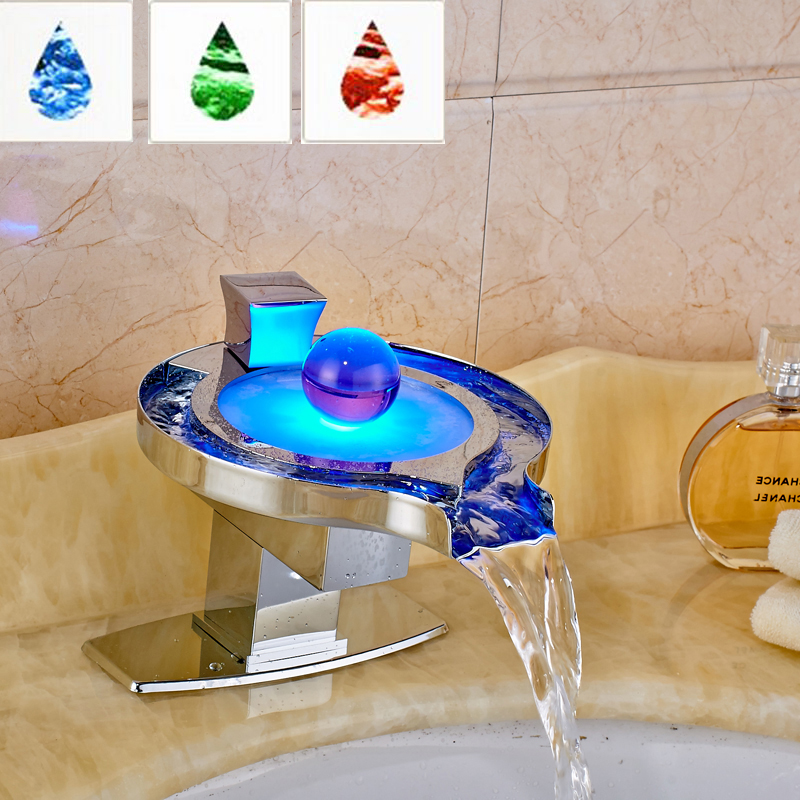 Led Light Bathroom Faucet Brass Chromed Waterfall Bathroom Basin Faucets 3 Colors Change Water Power Basin