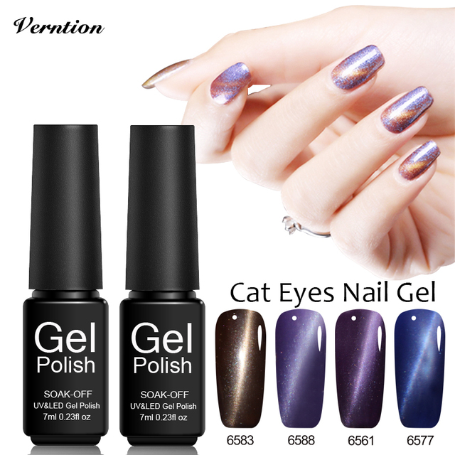Verntion French Manicure 3d Cat Eye Uv Gel Nail Polish Glitter Uv