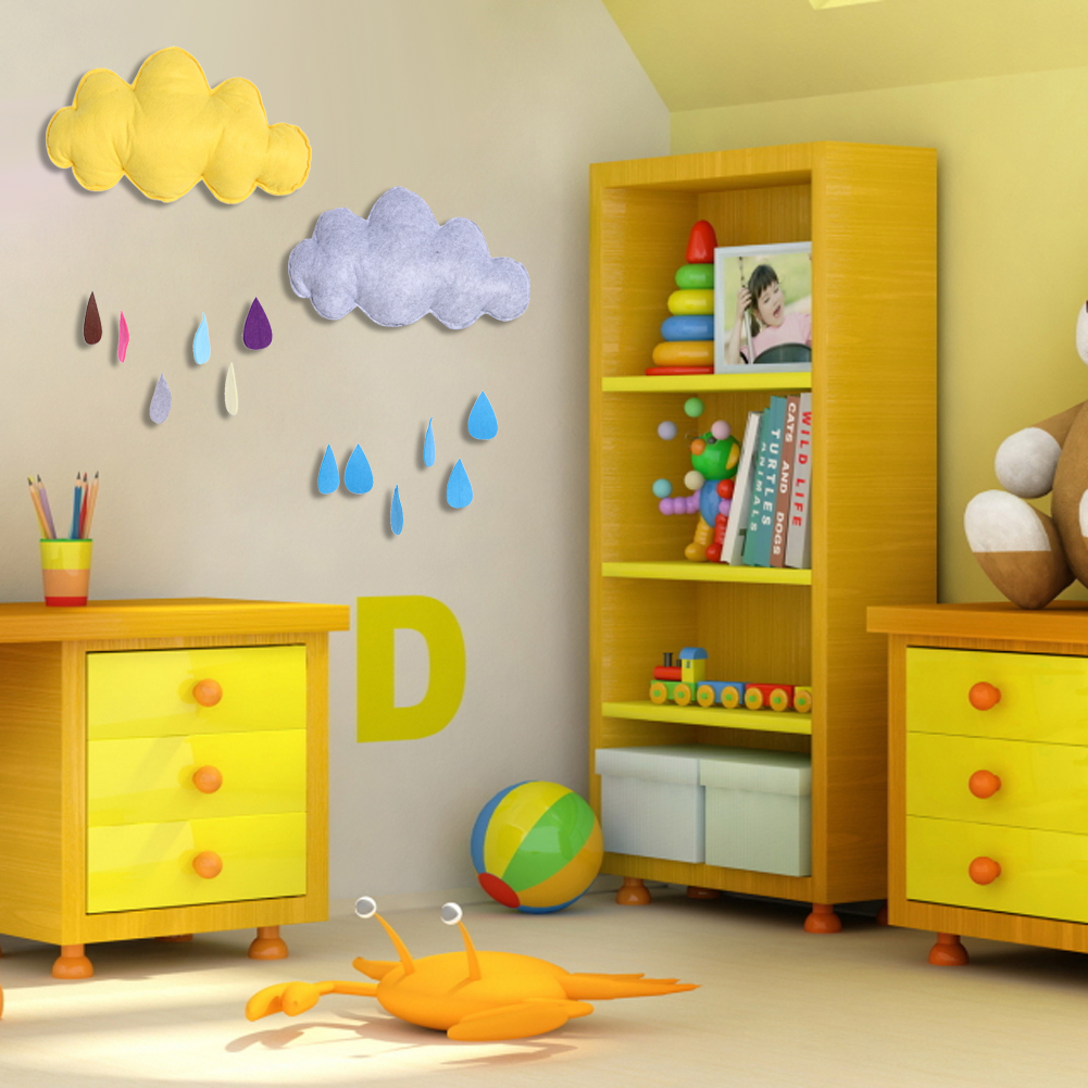 Clouds and raindrop design fabric silk wadding removable for Fabrics for children s rooms