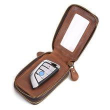 Genuine Leather Car Key Wallets Men Key Holder Housekeeper Keys Organizer Women Keychain Cover Zipper Key Case Bag Pouch Purse цены онлайн