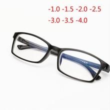 Классические очки с полной оправой TR90, очки для близорукости, модные студенческие короткие очки для зрения-1,0-1,5-2,0-2,5-3,0-3,5-4,0