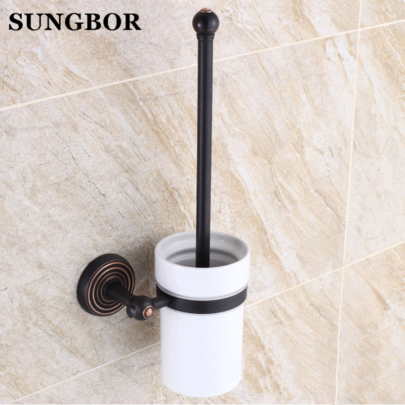все цены на Solid Brass Black Antique Bronze Finish Wall Mounted Household Toilet Brush Holder with Ceramic Cup Bathroom Hardware GJ-5409H онлайн
