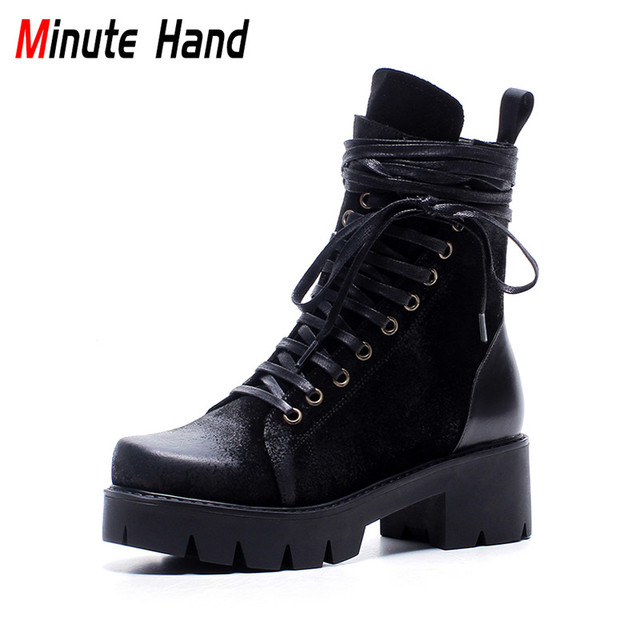 332516c6d6b5 Minute Hand 2018 Fashion Black Retro Combat Boots Lace Up Ankle Boots For Women  Platform Square Low Heel Shoes Zip Big Size 42