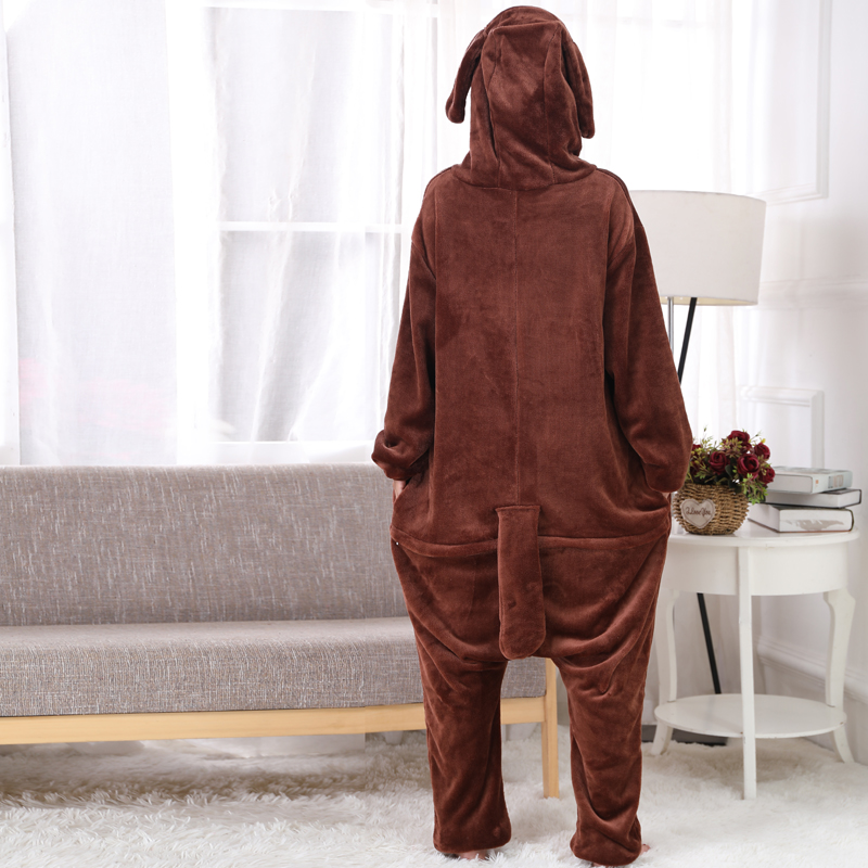 New Brown Teddy Dog Kigurumi Thick Flannel Animal One-Piece Pajamas For Onesie For Adults Cosplay Party Costume Pyjamas Suit (8)