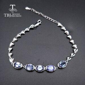 Image 1 - Женский браслет с голубым цирконием TBJ, браслет из серебра 925 пробы, 4 карат, ювелирное изделие в подарок