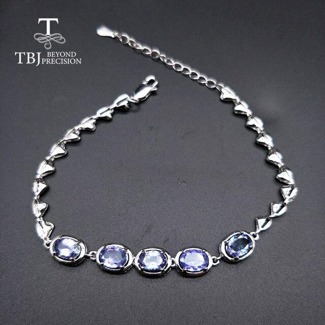 Женский браслет с голубым цирконием TBJ, браслет из серебра 925 пробы, 4 карат, ювелирное изделие в подарок
