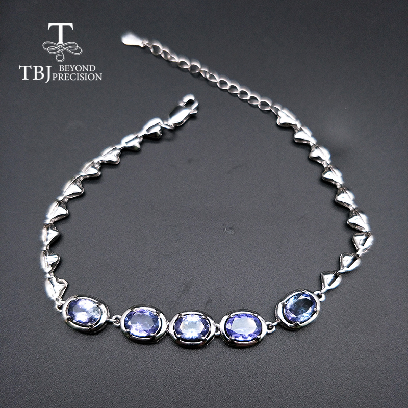 TBJ,Real natural 4ct up Blue <font><b>tanzanite</b></font> gemstone <font><b>bracelet</b></font> 925 sterling silver fine jewelry for women best gift image