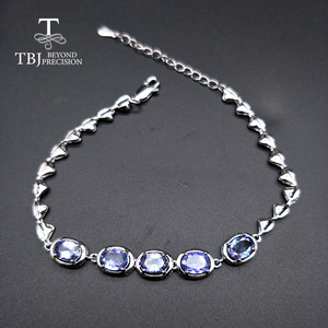Image 1 - TBJ,Real natural 4ct up Blue tanzanite gemstone bracelet 925 sterling silver fine jewelry for women best gift