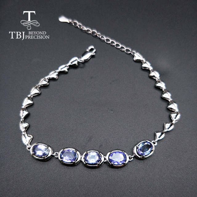 TBJ,Real natural 4ct up Blue tanzanite gemstone bracelet 925 sterling silver fine jewelry for women best gift