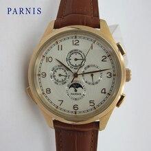 Новый Parnis 44 мм Розовое Золото Из Нержавеющей Стали Корпус часов Ручной Завод Движение мужские Наручные Часы бесплатная доставка
