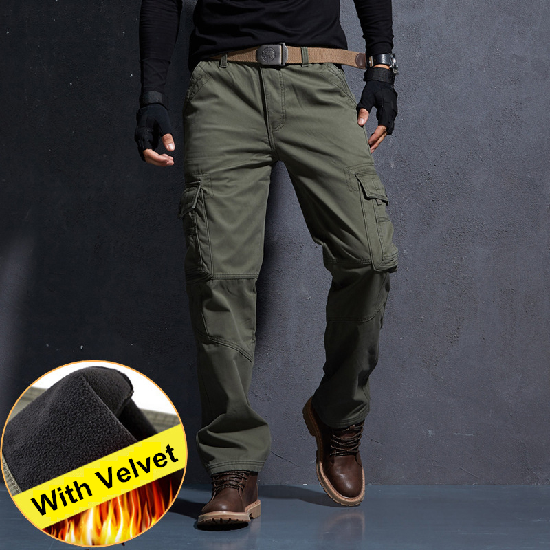 Winter Warm Military Cargo Pants Men Mens Tactical Pants Militare Baggy Pants Army Green Khaki Trousers Denim Jeans Pants.FA07