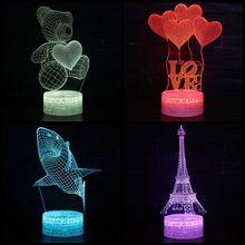 3D Valentine's Day Decorative Desktop Ornaments 3D Visual Illusion Light LED Visual Light Sharp Bear Heart Light Best Gift
