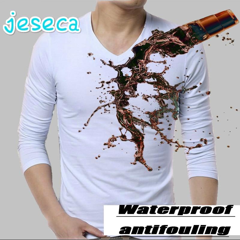 Jeseca Idrofobo T camicia Degli Uomini di Autunno Manica Lunga Creativo Traspirante Anti-fouling Geometrit Incredibile di Grandi Dimensioni 3XL T shirt