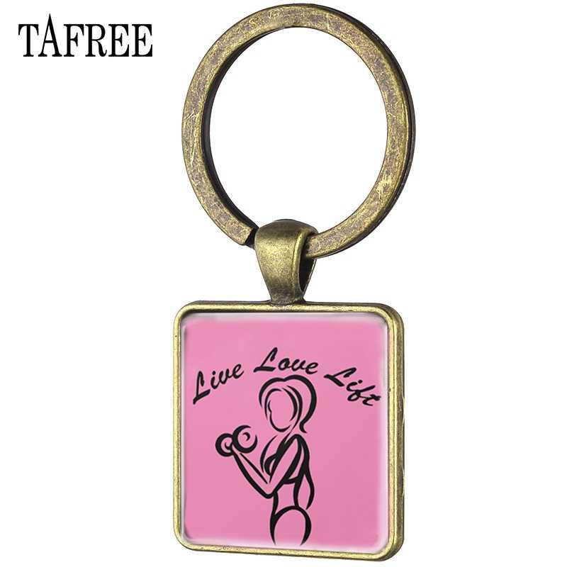 TAFREE VINTAGE ปรับแต่งสแควร์จี้พวงกุญแจน่ารักฟิตเนส Chick กีฬาแก้ว Cabochon จี้ Keyring อุปกรณ์เสริม FQ514