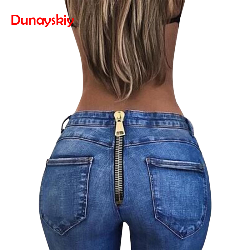 2020 New Arrival Softener Washed Jeans With Zipper Back Push Up Skinny Straight Blue Denim Pants Streetwear Casual Women Jeans