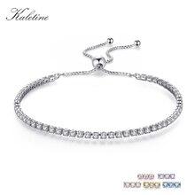 KALETINE Luxury Brand Bracelets For Women Real 925 Sterling Silver Bracelet Pink CZ Original Tennis Beads Link Fashion Jewelry