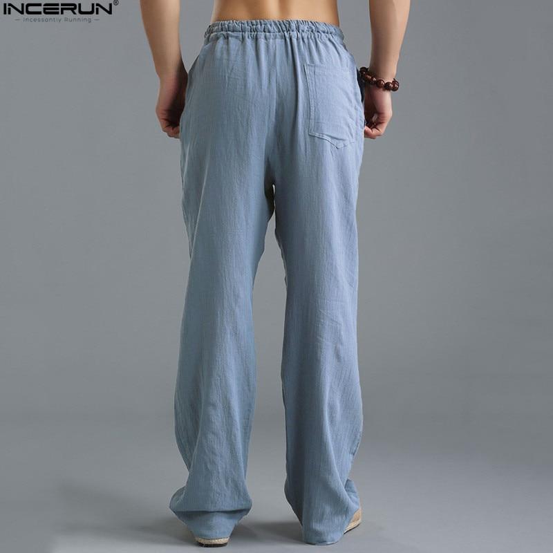 HTB1hMrPkBmWBuNkSndVq6AsApXat Spring Summer Men Pants Casual Mens Business Trousers Thin Linen Loose Elastic Waist Chinese Style Pants Straight Trousers Men