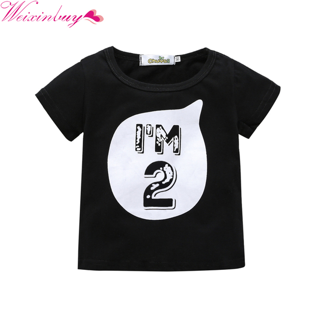 2017 Baby Boys Girls T Shirt Children Letter Birthday Age Printed Cotton Blends Summer Shirts For Kids 0 6 Years