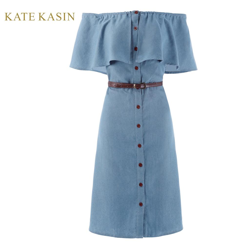 4657269d8ad Kate Kasin Retro 1940s Style Off Shoulder Button Up Denim Shirt ...