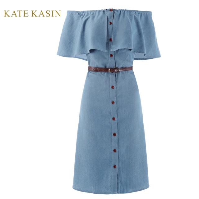 Kate Kasin Retro 1940s Style Off Shoulder Button Up Denim Shirt Dress  Vintage Butterfly Ruffles Jeans Dress Vestido Feminino 53e40c1d5f