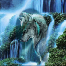 Megayouput 3D diamond embroidery diy  painting cross stitch kit abstract animal Wolf scenery picture mosaic pattern gift