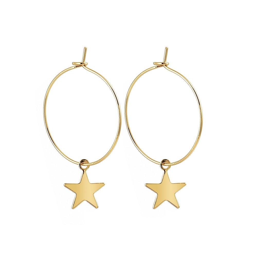 2019 New Personality Simple Pentagram Earring Female Metal Star Dangle Earrings For Women Girl Trendy Jewelry