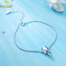 Flyleaf 925 Sterling Silver Bracelets For Women Cute Rainbow Unicorn Natural Moonstone Fashion Fine Jewelry & Bangles