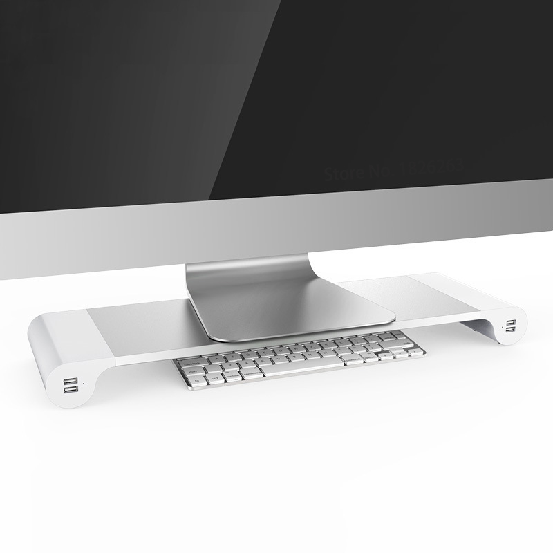 Aluminum Desktop Monitor Notebook Laptop Stand Space Bar Non-slip Desk Riser With 4-ports USB Charger For IMac, MacBook Pro, Air