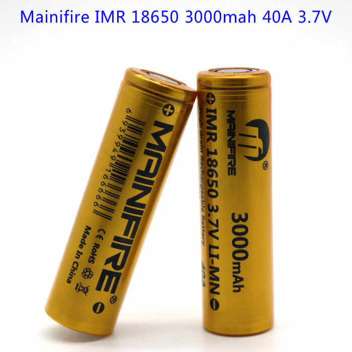 2017 Newest Mainifire vaping products18650 40a ecig box mod battery 3.7v 3000mah long lasting battery with flat top(1pc)