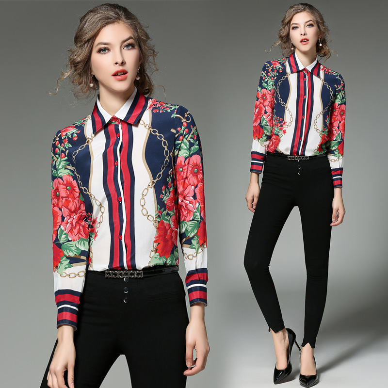 UTMEON Shirt Slim Chain Flower Printing Wild Commuter Shirt