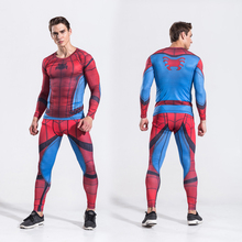 Mens Two Piece Set Spiderman Cosplay Suits Male Long Sleeve Crossfit Shirt Fitness Legging Outfit Pant Compression Tracksuit