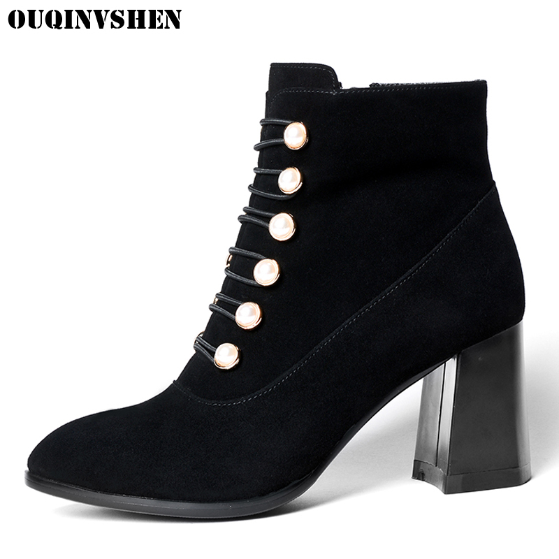 OUQINVSHEN Zipper Pointed Toe Boots Casual Fashion Women Ankle Boots New Square heel High Heels Ladies Cross Tied Crystal Boots nemaone 2018 women ankle boots square high heel pointed toe zipper fashion all match spring and autumn ladies boots