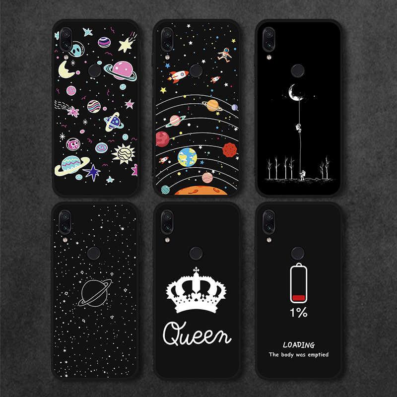 Hitam Matte Case untuk Xiao Mi Note 7 5 Mi 8 Mi A2 Lite A1 Pocophone F1 untuk Pocophone Mi catatan 6 5 Pro S2 6A 5A 5 Plus 6 Pro Planet Cover